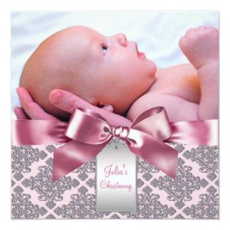 Baptême rose de photo de bébé de damassé faire-parts