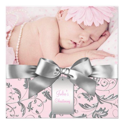 Baptême rose et gris élégant cartons d'invitation personnalisés