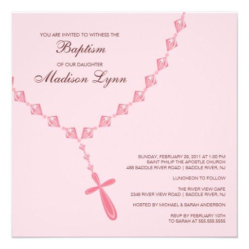 Baptême rose Inviation de bébé de perle de chapele Faire-part Personnalisé