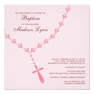 Baptême rose Inviation de bébé de perle de Carton D'invitation 13,33 Cm