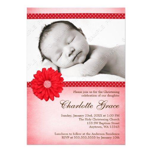 Baptême rouge de baptême de photo d'étincelle de m carton d'invitation