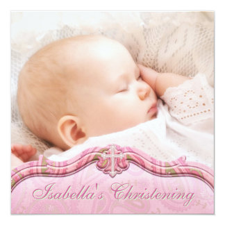 Baptême vert rose de photo de bébé de Paisley Carton D'invitation 13,33 Cm