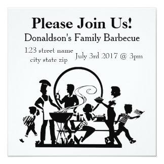 Barbecue personnalisé de famille carton d'invitation  13,33 cm