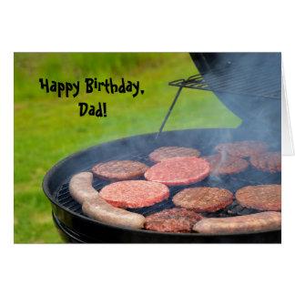 Barbecue pour l'anniversaire du papa carte de vœux