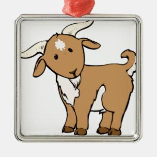 barbichette de chèvre ornement carré argenté