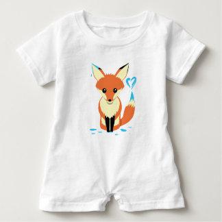Barboteuse Bébé de Fox peignant le coeur bleu avec la queue