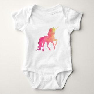 Barboteuse de bébé de licorne d'aquarelle