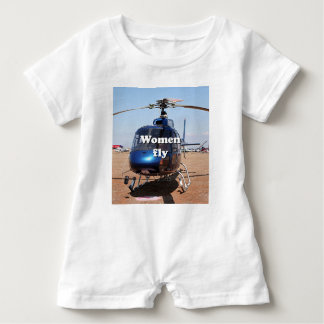 Barboteuse Les femmes volent : hélicoptère bleu