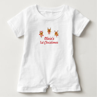 Barboteuse Noël de Joyeux Noël de renne de danse ęr premier