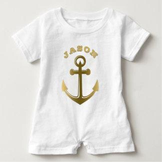 Barboteuse Nom décoré d'un monogramme d'or nautique d'ancre