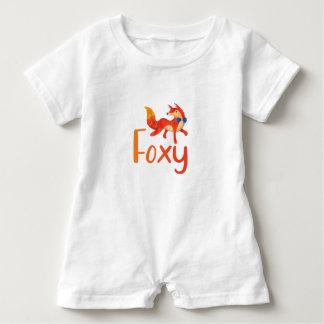 Barboteuse Rusé élégant avec le Fox illustré pour le bébé