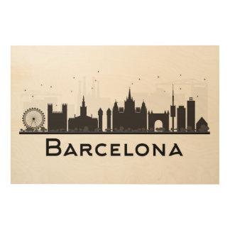 Barcelone, Espagne horizon noir et blanc de | de Décoration Murale Sur Bois