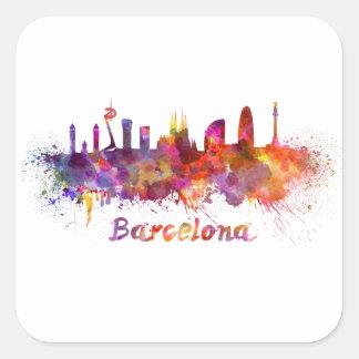 Barcelone skyline in watercolor sticker carré