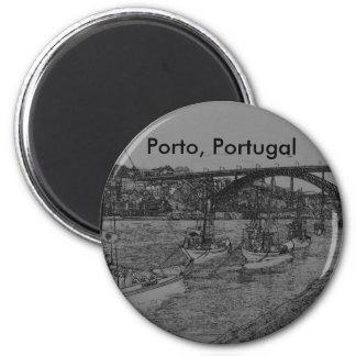 Barcos, Porto, Portugal Magnet Rond 8 Cm