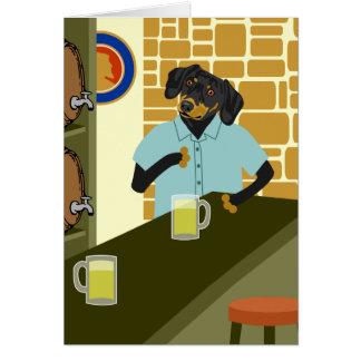 Barillet de baril de bière de Doxie de teckel Carte De Vœux