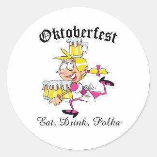 Barmaid d'Oktoberfest Sticker Rond