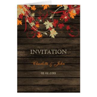 Barnwood, automne rustique laisse des invitations carte de vœux