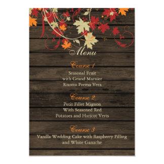 Barnwood rustique, chute laisse des cartes de menu carton d'invitation  12,7 cm x 17,78 cm