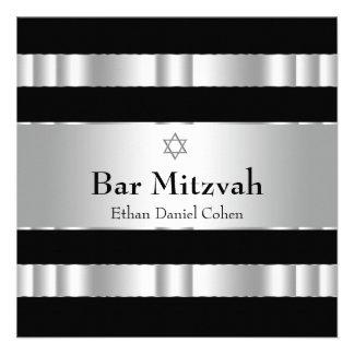 Barre argentée noire Mitzvah d étoile de David Faire-parts