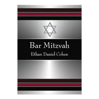 Barre argentée rouge noire Mitzvah d étoile de Dav Cartons D'invitation Personnalisés