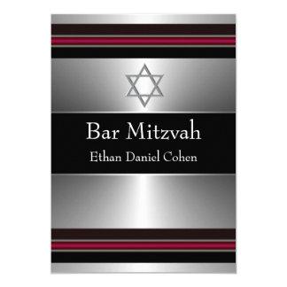 Barre argentée rouge noire Mitzvah d'étoile de Carton D'invitation 12,7 Cm X 17,78 Cm