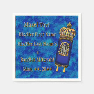 Barre-Batte Mitzvah Torah sur le marbre bleu Serviettes Jetables