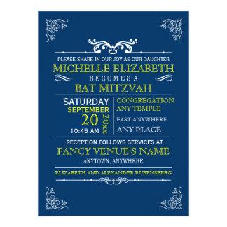 Barre-Batte vintage Mitzvah d'affiche de typograph Invitations Personnalisables