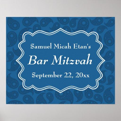 Barre bleu-foncé Mitzvah de motif de Paisley Posters
