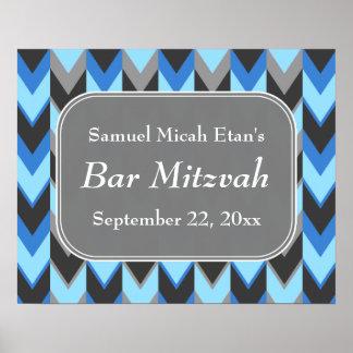 Barre bleue et grise Mitzvah de motif de Chevron Affiches