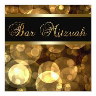 Barre d'or noire élégante Mitzvah Carton D'invitation 13,33 Cm
