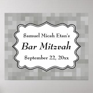 Barre grise et noire et blanche modelée Mitzvah Affiches