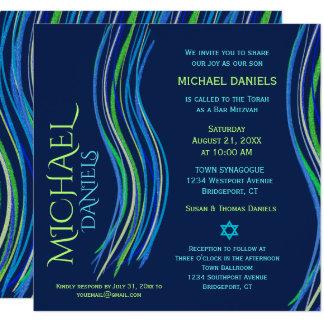Barre invitation bleue et verte de Mitzvah de