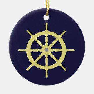 Barre jaune de bateau - bleu marine ornement rond en céramique