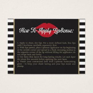 Barre - lèvres - l'or - comment s'appliquer - des cartes de visite