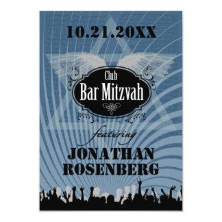 Barre Mitzvah de club dans le bleu Carton D'invitation 12,7 Cm X 17,78 Cm