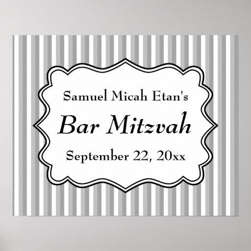 Barre Mitzvah de motif de rayure Affiches