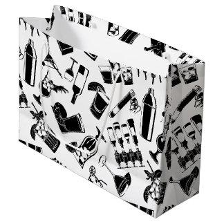 Barre noire de cocktail de motif grand sac cadeau