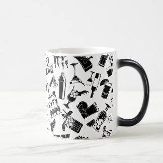 Barre noire de cocktail de motif mug magic