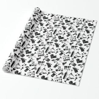 Barre noire de cocktail de motif papier cadeau noël