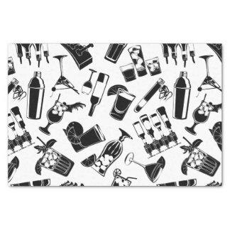 Barre noire de cocktail de motif papier mousseline