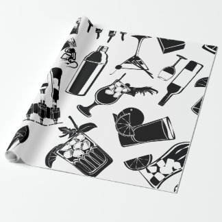 Barre noire de cocktail de motif papiers cadeaux