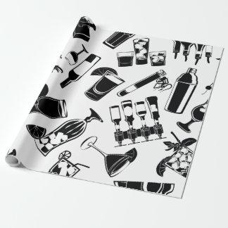 Barre noire de cocktail de motif papiers cadeaux noël