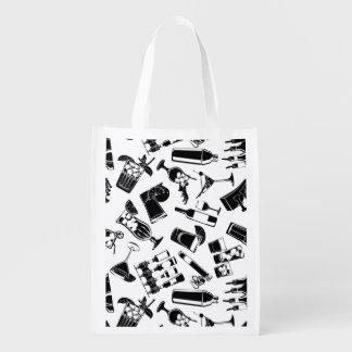 Barre noire de cocktail de motif sacs d'épicerie réutilisables