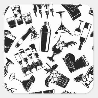 Barre noire de cocktail de motif sticker carré