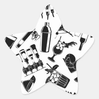 Barre noire de cocktail de motif sticker étoile
