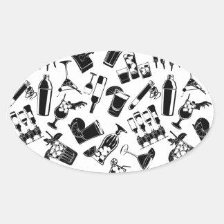 Barre noire de cocktail de motif sticker ovale