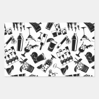 Barre noire de cocktail de motif sticker rectangulaire