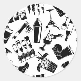 Barre noire de cocktail de motif sticker rond