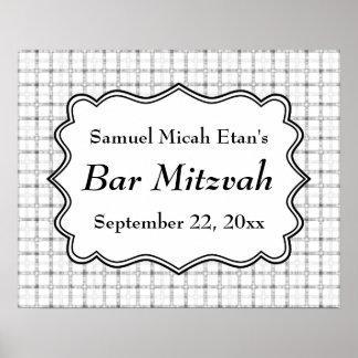 Barre noire et blanche Mitzvah avec le modèle de c Posters