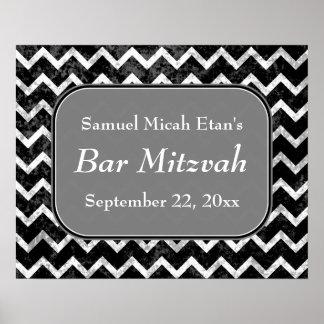 Barre noire et blanche Mitzvah de Chevron de motif Poster